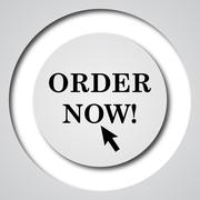 Stock Illustration of Order now icon. Internet button on white background..
