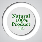 100 percent natural product icon. Internet button on white background.. - stock illustration