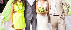 Wedding guests at the wedding ceremony - stock photo