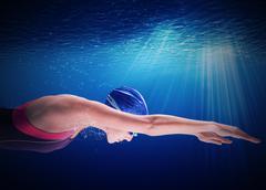Woman swimmer - stock photo
