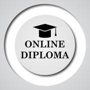 Stock Illustration of Online diploma icon. Internet button on white background..