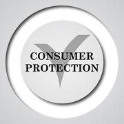 Consumer protection icon. Internet button on white background.. - stock illustration