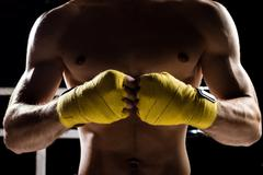 Professional healthy fighter is ready for competition Stock Photos