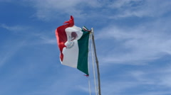 Mexican flag at Tulum beach Stock Footage
