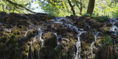 Streams of water cascading over a slope of  mossy rocks Stock Footage