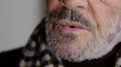 Pensive mature man staring, beard, grey Stock Footage