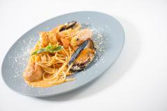 Pasta in Thai style - stock photo