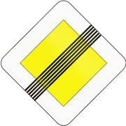 Road sign used in Slovakia - End of the road with right of way Stock Illustration