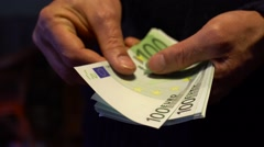 Man counts euro. Close-up of hands with money Stock Footage