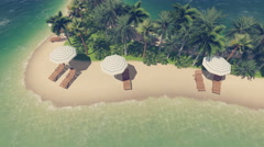 Beach on a heart shaped tropical island 4K animation Stock Footage