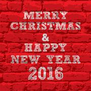 New year and merry christmas write on wall greeting vector Stock Illustration