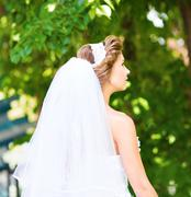 Portrait of a beautiful bride in profile Stock Photos