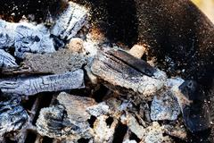 Ash from wood fire Stock Photos