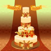 Wedding cake with red iris flower design. Vector illustration. - stock illustration