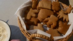 Cookies Heart-Shaped Angel-Shaped Biscuits Someone Moves a Bowl with Flour Stock Footage