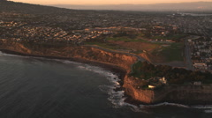 Flying toward Pacific Palisades, California, in evening light. Shot in 2010. Stock Footage