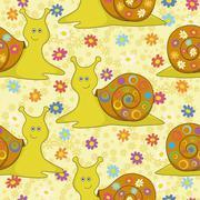 Seamless, cartoon snail and flowers - stock illustration