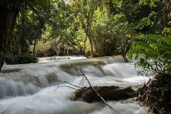 Three Tier Kuang Si Falls Stock Photos