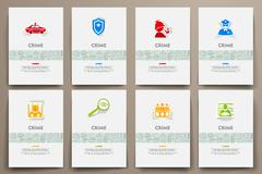 Stock Illustration of Corporate identity vector templates set with doodles crime theme