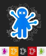 Stock Illustration of voodoo Doll paper sticker with hand drawn elements