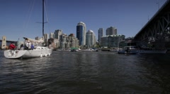 A Yacht at Granville Island Stock Footage