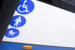 enabled bus for transport of disabled and aged people - stock photo