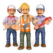 3D Workers. Team of work Stock Illustration