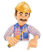 3D Electrician with a screwdriver pointing down. Blank space - stock illustration