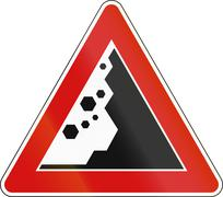 Road sign used in Italy - falling rocks on the right - stock illustration