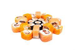 Sushi on the white background - stock photo