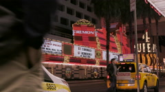 Fremont Street taxi stand at night Stock Footage