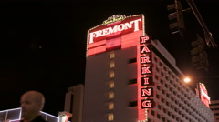 Fremont Street hotel at night Stock Footage