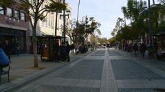 Santa Monica - Third Street Promenade Kiosks People Shopping Stock Footage