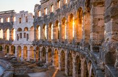 Architectural Details of Pula Coliseum, Croatina Stock Photos