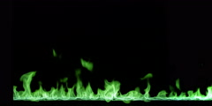Green flames dance above a stream of liquid fire at the bottom of a black frame - stock footage