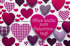 Stock Photo of Pink Hearts Texture, Text Valentinstag Means Happy Valentines Day