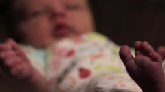 Newborn infant sneezing Stock Footage