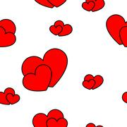 Red big and small hearts - stock illustration