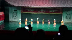 Traditional Vietnamese Water Puppetry Show in Hanoi - stock footage