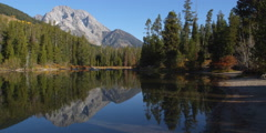 Stock Video Footage of Mirror image reflection of  Grand Tetons and evergreens at edge of String Lake