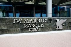 DUBAI, UAE - SEPTEMBER 10: The entrance of JW Marriott Marquis Dubai hotel on Stock Photos