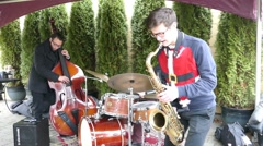 Jazz Band Trio Plays Christmas Carols Outside Stock Footage