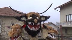 Kuker Bulgarian mummers' mask on Surva celebration Stock Footage