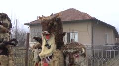 Bulgarian mummers' masks on Surva celebration Stock Footage