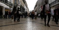 People on Rua Augusta, Lisbon, Portugal Stock Footage