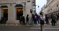 People on Rua Augusta, Lisbon, Portugal - stock footage