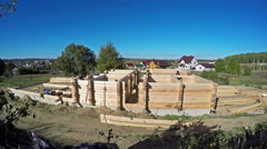 4K. Time-Lapse. Construction of a new wooden house. Stock Footage