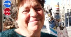 Close up facial portrait of a Portuguese Woman - stock footage