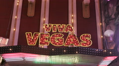 Snap Zooms of Viva Vegas neon sign Stock Footage