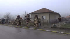 Kukeri Traditional Bulgarian mummers' masks Stock Footage